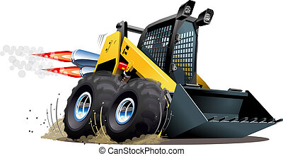 Vector Cartoon Skid Steer. Available EPS-10 vector format...