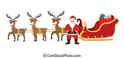 Vector cartoon sleigh, reindeers, sled with Santa Claus.