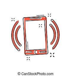 Vector cartoon smartphone icon in comic style. Phone sign illustration pictogram. Smartphone business splash effect concept.