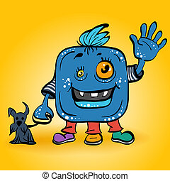 vector cartoon smiling blue monster
