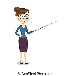 Vector cartoon smiling female teacher with pointer on lesson...