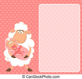 sheep mother with infant baby