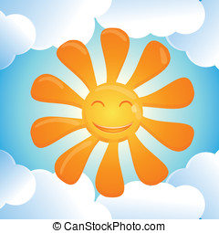 Vector cartoon smiling sun