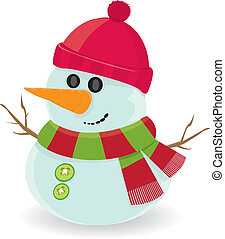 Vector cartoon snowman - Vector snowman isolated on white. ...