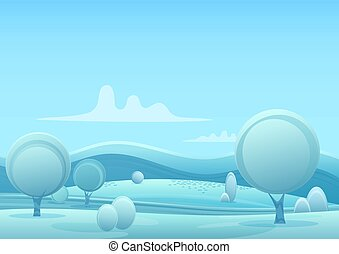 Vector Cartoon snowy winter game style landscape with trees and snow mountains hills.