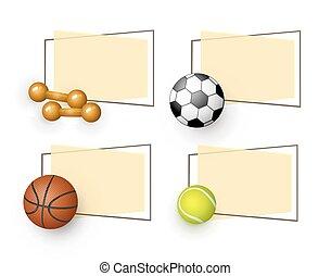 vector cartoon sport equipment banners set - vector flat...