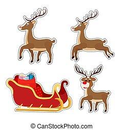 Vector cartoon stickers woth sleigh, reindeers of Santa Claus.