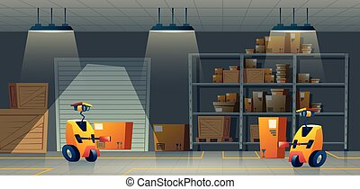 Vector cartoon storehouse, storage with robot-workers, automation