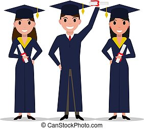 Vector cartoon student girl, boy graduate