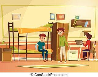 Vector cartoon students group in dormitory room