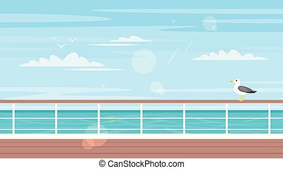 Vector cartoon style background of sea view. Good sunny day. Cruise, travel and tourism concept. Ship deck with seagull on it.
