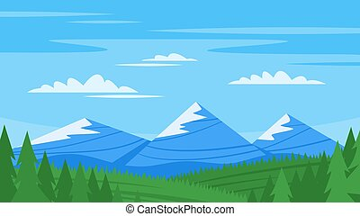 Vector cartoon style background with rocky mountains and...