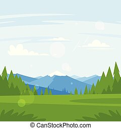 rocky mountains and forest - Vector cartoon style background...