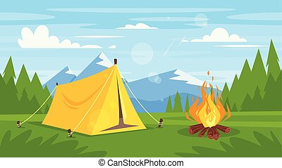 rocky mountains, forest, camp fire - Vector cartoon style...