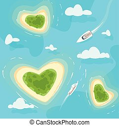 tropical paradise sea shore - Vector cartoon style...