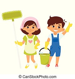 characters with mop and bucket - Vector cartoon style boy ...