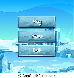 Vector cartoon style buttons ice