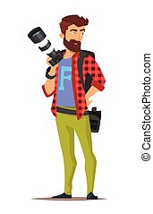 cartoon style character of photographer.