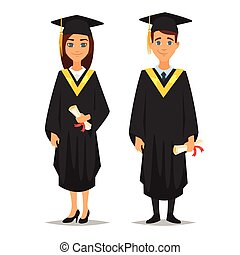 man and woman graduates - Vector cartoon style characters...