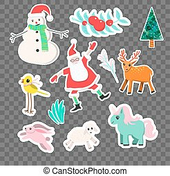 Vector cartoon style Christmas stickers