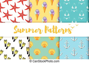collection of summer colorful patterns.