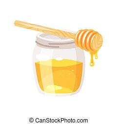 glass honey jar.