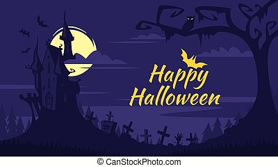 Halloween background with old castle