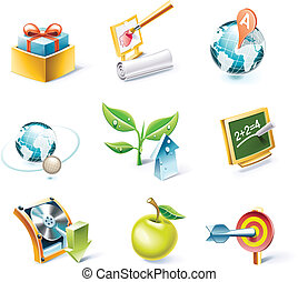 Vector cartoon style icon set. P. 5 - Set of highly detailed...