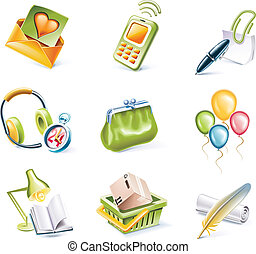Vector cartoon style icon set. P. 8