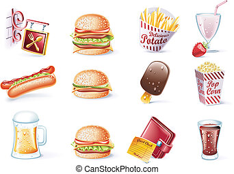 Vector cartoon style icon set. P.22 - Set of highly detailed...