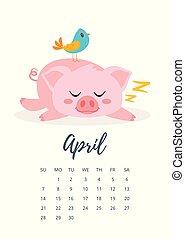 April 2019 year calendar page - Vector cartoon style...