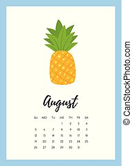 August 2018 year calendar page