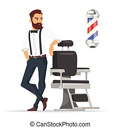 Vector cartoon style illustration of barber.