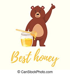 bear character eating sweet honey