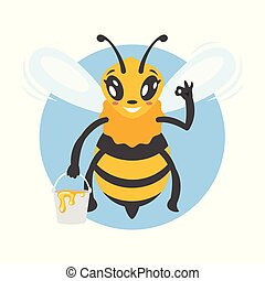 illustration of bee character - Vector cartoon style ...