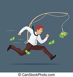 illustration of businessman chasing after money.