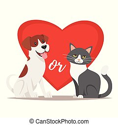 illustration of cat and dog - Vector cartoon style ...