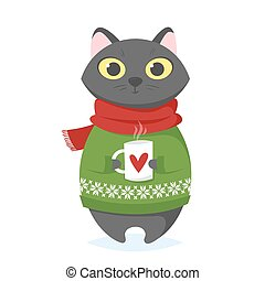 Vector cartoon style illustration of christmas cat with cup.
