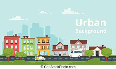 city landscape. Urban skyline. - Vector cartoon style...