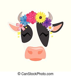cow head with floral wreath - Vector cartoon style ...