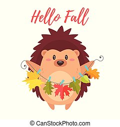hedgehog holding autumn colorful leaves