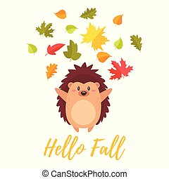 hedgehog tossing autumn colorful leaves
