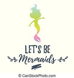cute mermaid character silhouette