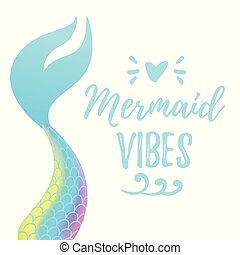 cute mermaid tail - Vector cartoon style illustration of...