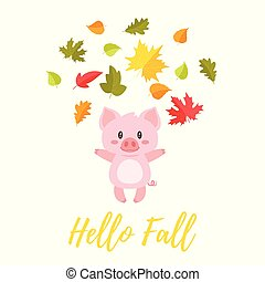 pig tossing autumn colorful leaves