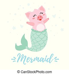 cute pig with mermaid tail
