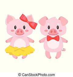 pig character: boy and girl - Vector cartoon style...