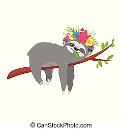 Vector cartoon style illustration of cute sloth character in floral wreath, lying on the tree brunch, isolated on white background. Print for t-shirt or poster design.