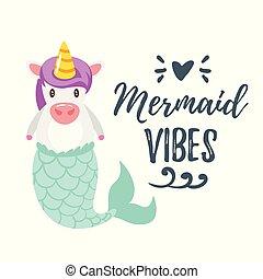 cute unicorn with mermaid tail