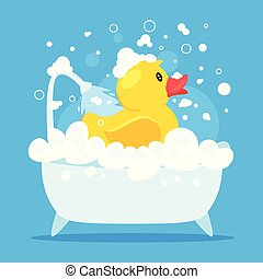 rubber duck taking a bath
